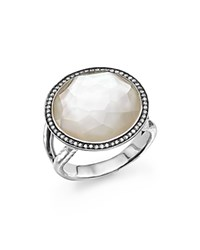 Ippolita Sterling Silver Stella Lollipop Ring In Mother Of Pearl Doublet With Diamonds White Silver