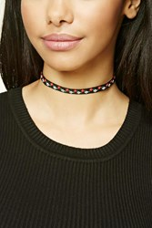 Forever 21 Floral Embroidered Choker Black Multi