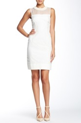 Orla Kiely Silk Beaded Neck Fitted Dress White