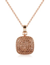 Azhar Cubic Zirconia And Sterling Silver Square Pendant Necklace Rose Gold