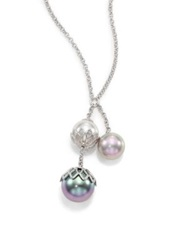 Majorica 10Mm 14Mm Multicolor Round Pearl And Sterling Silver Flower Drop Pendant Necklace