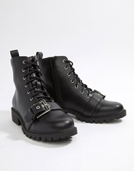 London Rebel Lace Up Ankle Boots Black