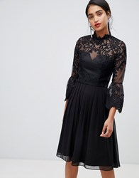 Chi Chi London Lace Skater Dress In Black