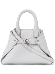 Akris Ai Cross Body Bag Calf Leather Grey