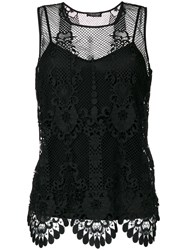 Twin Set Sleeveless Macrame Blouse Women Spandex Elastane Viscose 38 Black