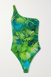 Versace One Shoulder Printed Swimsuit Green