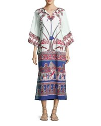 Figue 3 4 Sleeve Printed Caftan Dress Ivory