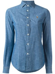Polo Ralph Lauren Fitted Denim Shirt Women Cotton 4 Blue