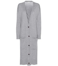 Balenciaga Virgin Wool And Cashmere Long Cardigan Grey