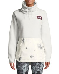 The North Face Riit Fleece Cowl Neck Pullover Sweater Gray Pattern