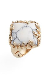 Metal Stone Women's And Coral Set Ring Gold Howlite Grey