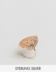 Asos Rose Gold Plated Sterling Filigree Tear Ring Rose Gold Plated Copper