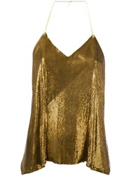 Balmain Sequin Embellished Top Women Silk Brass 38 Metallic
