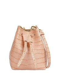 Nanushka Croc Embossed Leather Shoulder Bag Pink