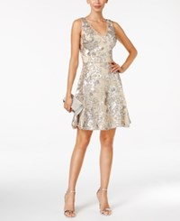 Betsy And Adam Sequin Mesh A Line Dress Blush Silver