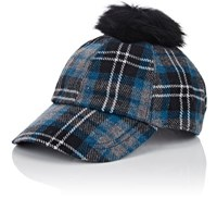 Hat Attack Women's Fur Pom Pom Flannel Baseball Cap Blue