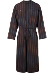 Yoshio Kubo Striped Long Tie Shirt Black