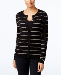 August Silk Striped Cardigan Gold Rope