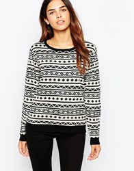 Sugarhill Boutique Aztec Jumper Whiteblacksilver