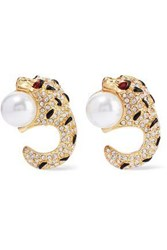 Kenneth Jay Lane Gold Tone Crystal Faux Pearl And Enamel Clip Earrings Gold