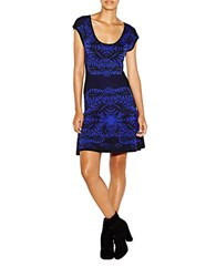 Nicole Miller Double Knit Placed Leaf Print Fit And Flare Dress Blue Black