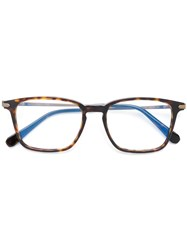 Brioni Square Frame Glasses Brown