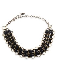 Ettika Chain And Leather Choker Black Gold
