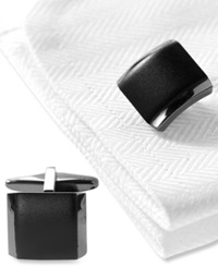 Kenneth Cole Reaction Cufflinks Polished Hematite Boxed Set Black Nkl Silver