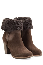 Ugg Australia Charlee Suede Ankle Boots With Sheepskin Brown