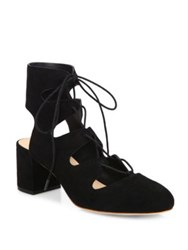 Loeffler Randall Lexi Suede Lace Up Block Heel Pumps Black
