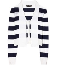Dolce And Gabbana Striped Cashmere Silk Cardigan Blue