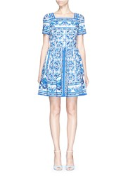 Dolce And Gabbana Maiolica Print Cotton Poplin Sundress Blue