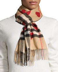 Burberry Cashmere Heart And Check Print Scarf Brown Red Brown Red