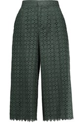 Raoul Broderie Anglaise Cotton Culottes Dark Green