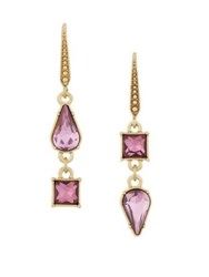 Laundry By Shelli Segal Crystal Pear Square Double Drop Earrings Pink