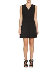 1.State Sleeveless A Line V Neck Dress Black