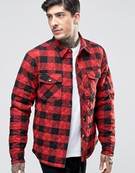 Another Influence Quilted Shirt Jacket Red