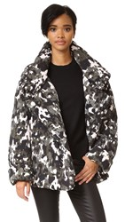 Norma Kamali Sleeping Bag Short Coat Modern Camo