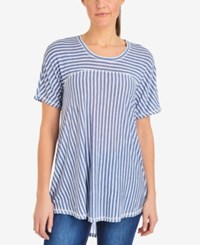 Ny Collection Striped High Low Top Indigo Theme