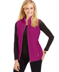 Karen Scott Mini Quilted Zip Front Vest Bright Azalea