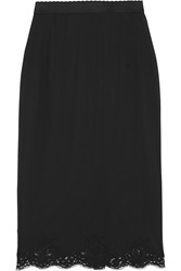 Dolce And Gabbana Lace Trimmed Silk Crepe Half Slip Black