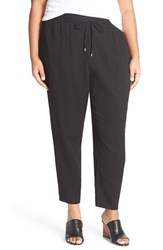 Plus Size Women's Eileen Fisher Organic Cotton Drawstring Ankle Pants Black