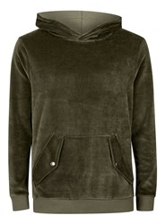 Topman Green Velour Classic Fit Hoodie