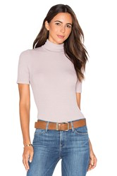 Three Dots Cleo Short Sleeve Turtleneck Taupe