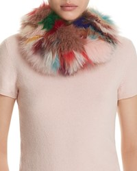 Surell Fox Fur Infinity Loop Scarf Pale Multi