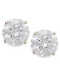 Arabella 14K Rose Gold Earrings Swarovski Zirconia Round Stud Earrings 3 1 2 Ct. T.W.