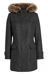 Pendleton Portland Wool Duffle Coat With Genuine Fur Trim Ash Mel