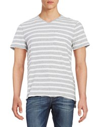 Calvin Klein Jeans Striped V Neck Short Sleeve Tee Grey