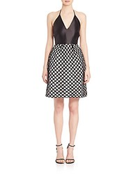 Monique Lhuillier Satin Halter Lace Novelty Dress Black White