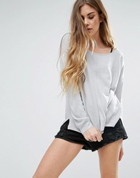 Noisy May Chen Boatneck Jumper High Rise Grey